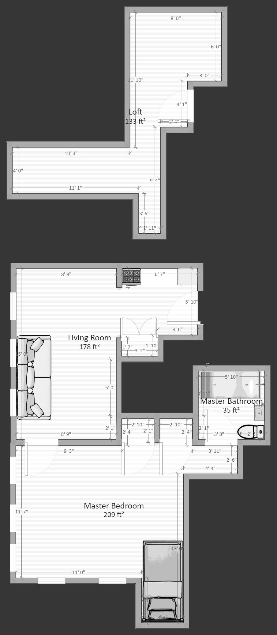 Kitchenette Apartment with Loft